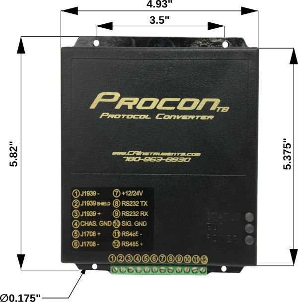 Procon Protocol Converter for J1708 or J1939 Dimensions